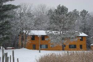 Snow at Tamarack Lodge on Lake Winnibigoshish